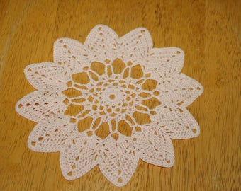 "Hand Crafted DOILY - 8"" Peach Colored Hand Crocheted Doily"