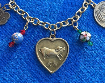 Year of the Pig Asian Reversible Two-Sided Charm Bracelet Chinese New Year Lunar New Year