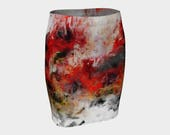 Red Hope Abstract Art Floral A-Line Skirt XS-S-M-L-XL Elegant Pencil Skirt Evening Wear Wearable Art Clothes Women Teen Clothing Fashion