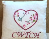 Cwtch Heart Cushion COVER ONLY White Linen Bird Trail. 14 handmade personalised Cushion Hand Made CushionHandmade Decorative Pillow