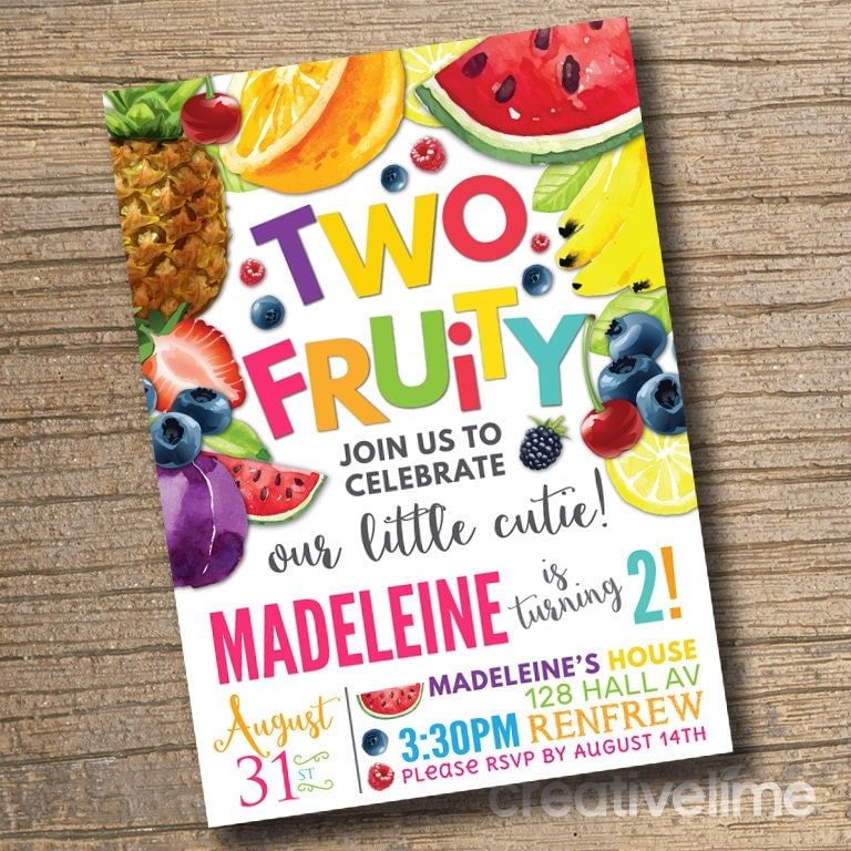 PRINTABLE TWO Fruity Invitation Fruit Cute Birthday Invitations