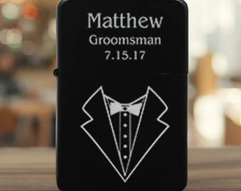 Engraved Lighter for Best Man, Groomsmen, Engraved Lighter Groomsmen Gift