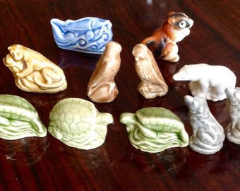 Set of 11 Small Ceramic Animal Figurines