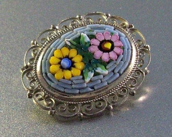 Micro Mosaic Brooch, Italy Floral Filigree, Yellow Pink Blue Flowers, Filigree Frame
