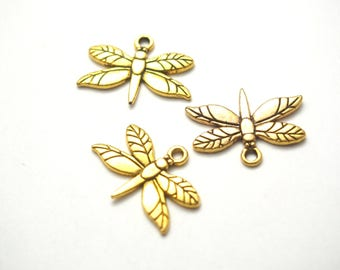 3 Gold 20x15mm metal Dragonfly charms