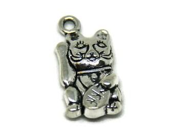 Maneki Neko cat silver metal charm solid 23x11mm