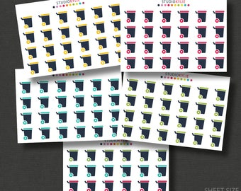 Wheelie Bin Planner Stickers  - Rubbish Bins - The Mini Collection