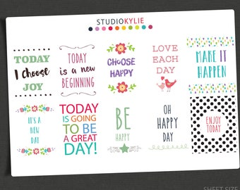 Affirmations & Quotes  Planner Stickers -  Motivation Stickers - Vinyl Stickers