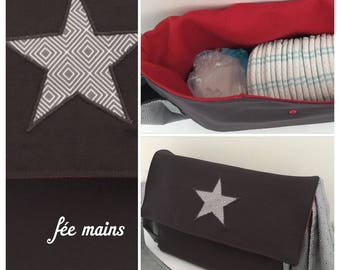 In stock: Star/grey cotton with pattern diaper bag