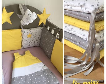 tour de lit nuages en coton gris toil blanc toil et jaune. Black Bedroom Furniture Sets. Home Design Ideas