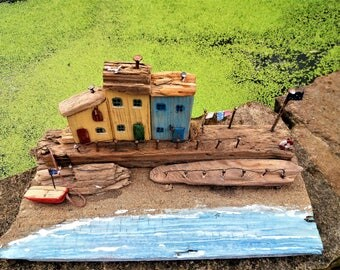 Coastal cottages by the sea , driftwood gift unique