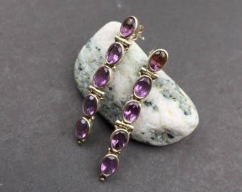 Amethyst Faceted Gem Stone Drop Earrings
