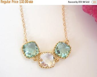 SALE Wedding Jewelry,Erinite and Clear Necklace,Aqua Green Clear,Seafoam and Clear,Gold Filled,Bridesmaid Gifts,Pendant,Gifts,Bridesmaids Je