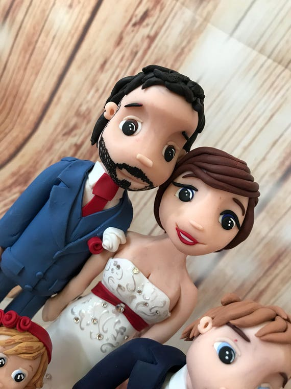 Fully personalised clay Wedding Cake Topper highly detailed and fully sculpted christmas theme/red dress - Keepsake -Bespoke premium service