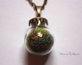 bronze glass, recycled Sari silk yarn ball necklace