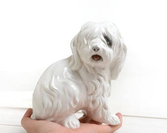 Dog statue, White animals decor, decor dog statue, white desk decor, figure statuette, statuette, white animal porcelain figurine
