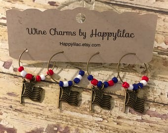 US Flag Wine Charms, Red White Blue, Wine Charms, Beaded Wine Charms, Bronze Wine Charms, Wine Accessories, Wine Glass ID, Wine, Patriotic