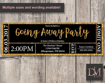 Black and Gold Faux Glitter Going Away/Bon Voyage Party Ticket Invitation (Printable)