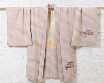 Mika silk kimono jacket l Japanese haori with full shibori