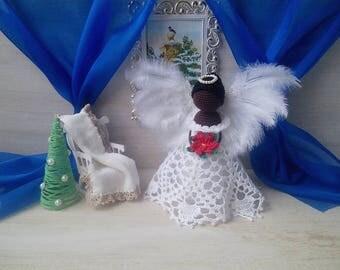 angel crochet, angel amigurumi, christmas gift, angel toy, angel keepsake, christmas ornament, guardian angel, knitted toy