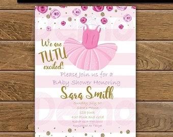 50 off tutu baby cute pink and gold invitation tutu baby shower invitation