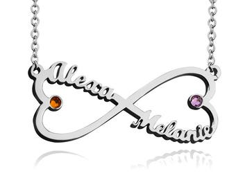 Infinity necklace,Infinity Name Necklace,Birthstones Necklace,Heart Infinity Necklace,Infinity Jewelry,Custom Infinity Necklace