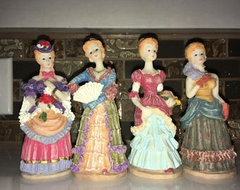 4 Women Figurines dressed from Renaissance Era