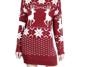 Slim Knitted Sweater Dress in Christmas Print