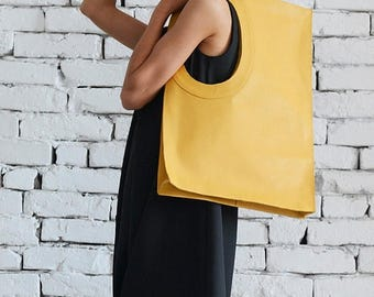 ON SALE Yellow Leather Shoulder Bag/Maxi Bag/Extravagant Large Handbag/Yellow Tote Bag/Square Purse/Genuine Leather Bag/High Quality Tote La