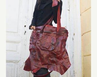 SALE Extravagant Red Leather Tote Bag / Genuine Leather Asymmetrical Shoulder Bag / Large Front Pocket Bag by METAMORPHOZA