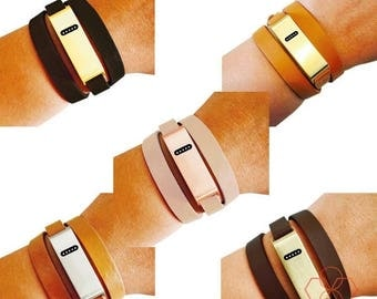 SALE Fitbit Bracelet for FitBit Flex Fitness Trackers -The KATE INSIGHT Brushed Metal and Genuine Leather Wrap Buckle Fitbit Bracelet -Ships