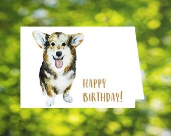 Dog Birthday Card: Corgi Birthday Card - Printable Corgi Card - Corgis - Download - Happy Birthday Card - Dogs - Birthday Card for Dog