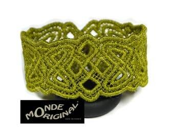 Green embroidered Celtic bracelet