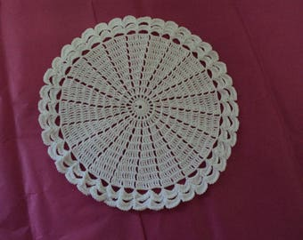 White flower doily, crocheted white cotton