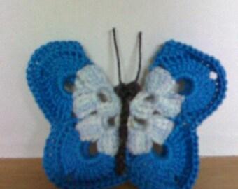 Set 3 butterflies handmade crocheted cotton blue and white