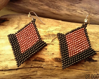 Earrings handwoven glass red and black Boho jewelry By Dodie