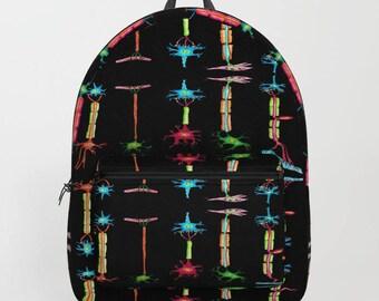 NEURONS Backpack Science Biology Anatomy Cell Medicine Nerve Physiology Dendrite School Carryall Bag Shoulder Blue Red Black People Knapsack