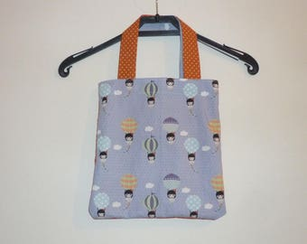 Bag handles, fabric 100% cotton, patterned light blue and orange dot paratrooper