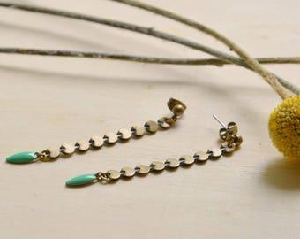 Resin, light green Snake earrings