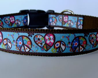 Hippie Dog Collar - Brown/Blue Hearts and Peace Signs - Ready to Ship!