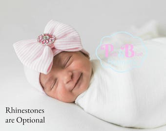 Newborn Hat with Rhinestone - Pink hospital hat, baby girl hats, newborn hats, baby girl hat, newborn girl hat, newborn hospital hat