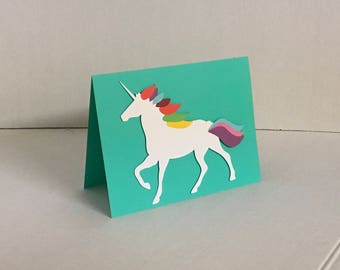 Rainbow Unicorn Blank Card , PaperCut , Horse , Magical , Adults , Teens , Kids , Free Shipping , FreeConfetti