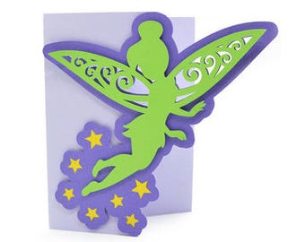 Tinker Bell Inspired Card , Blank inside , Girls , Stars , Disney , Fairy , Wings , Pixie , Free Confetti , Free Shipping