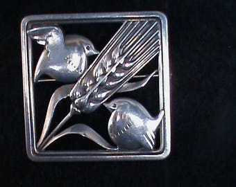 Silver Square Pin Wheat and Doves