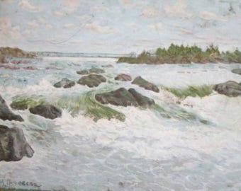 European art oil painting river landscape signed