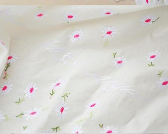Clothing fabric cotton embroidered red white flowers 5 m