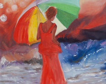 Girl with umbrella. Oil origin painting