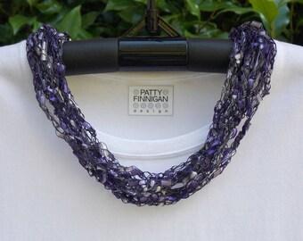 Crochet Ladder Yarn Necklace, Amethyst