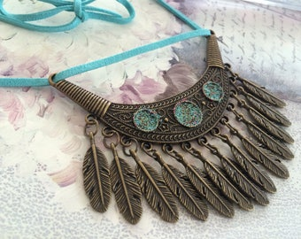 bronze turquoise feather ethnic necklace