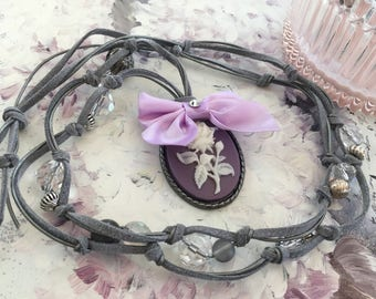 romantic necklace with long gray suede purple cameo